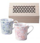 Sakura Pair Cups in Wood Box