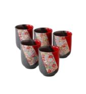 Vermilion Cut Koto Rokuhe Cups